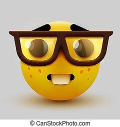 emoticon, glasses., emoji, geek, student., nerd, duktig, eller, ansikte