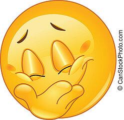 emoticon, glimlachen, het verbergen