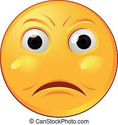 emoticon, gniewny, żółty, wektor, emoji, albo, ikona