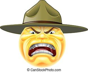 emoticon, gniewny, sierżant, dryl, emoji