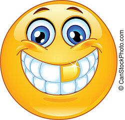 emoticon, gouden tand