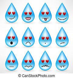 emoticon, gouttes, ensemble, visages souriants