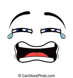emoticon, grät, borderless
