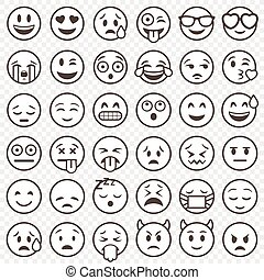 emoticon, grand, esquissé, vecteur, ensemble
