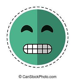 emoticon, grimacing, cartone animato, faccia