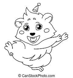 emoticon, guinée, dessin, cochon, isolé, dessin animé, vacances, fond, ligne, transparent