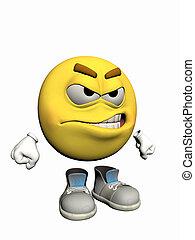 emoticon, guy., enojado
