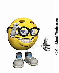 Emoticon guy pointing okay. - Illustration over white of an...