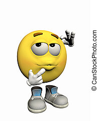 Emoticon guy thinking. - Illustration over white of an ...