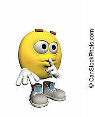 Emoticon guy with a secret. - Illustration over white of an...