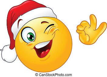 emoticon, hoedje, het knipogen, kerstman