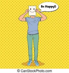 emoticon, homme, smiley, art, sheet., pop, figure, papier, vecteur, illustration, tenue, type, sourire heureux, emoticon.