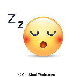 emoticon, humeur, icônes, face., somnolent, dormir, applications, vecteur, comprimé, bavarder, sourire, teeth.