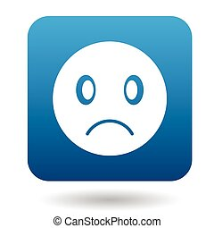 emoticon, icône, style, simple, triste