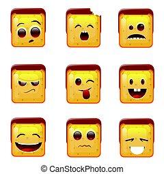 emoticon, icônes, positif, négatif, figure, sourire