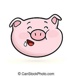 emoticon, icon., hambriento, pig., emoji
