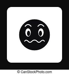 emoticon, icona, grimacing, stile, semplice