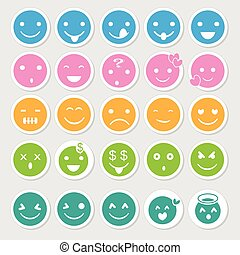 Emoticon icons set as labels vector