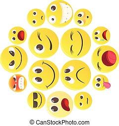 Emoticon icons set, cartoon style