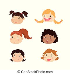 Emoticon icons set of cute girl with various emotions,