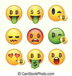 emoticon, illustration., ensemble, smiley, bitcoin, figure, vecteur, 3d, sourire, emoji