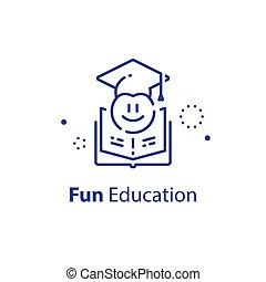 Emoticon in graduation cap, education concept, fun learning, preschool preparation