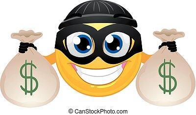 emoticon, inbrottstjuv, pengar, smiley, väska, holdingen