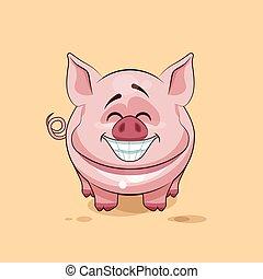 emoticon, inmenso, pegatina, carácter, aislado, cerdo, ...