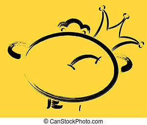 Emoticon is proud with a crown on his side. EPS10 vector illustration