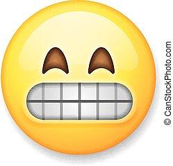 emoticon, isolado, rosto, grimacing, fundo, branca, emoji