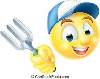emoticon, jardinier, emoji