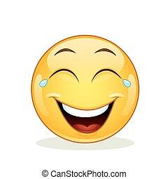 emoticon, joie, larmes, rire