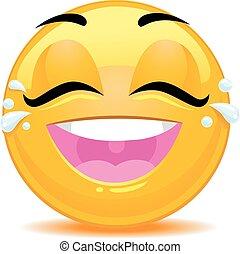 emoticon, joie, larmes, visage smiley