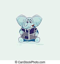 emoticon, jornal, adesivo, leitura, elefante
