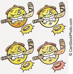 emoticon, jugador, conjunto, hockey, hielo