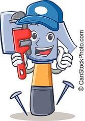 emoticon, kalapács, vízvezeték szerelő, betű, karikatúra