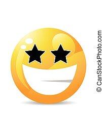 emoticon, karakter, spotprent, gele