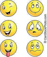 emoticon, komplet, ilustracja