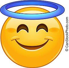 emoticon, lächeln, heiligenschein, gesicht