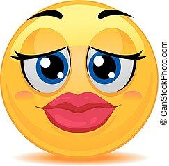 emoticon, lèvres, smiley, kissable