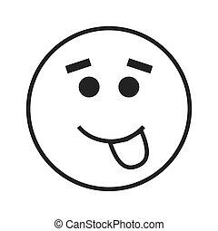 emoticon, língua, ícone