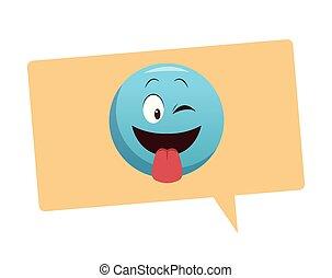 emoticon, língua, bolha, saída