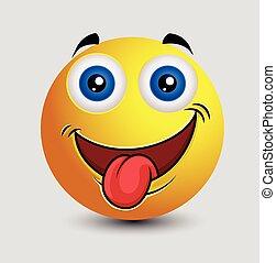 emoticon, língua, travesso, smiley, saída