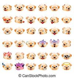 emoticon, labrador, chien, retrievers, expression, emoji