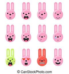 emoticon, lakás, mód, set., vector., mosoly, ikon, nyuszi, emoji