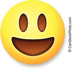 Emoticon laughing, emoji smile symbol, isolated on white...