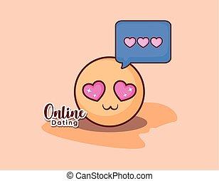 emoticon, liefde, gezicht, romaans, online, boodschap, datering