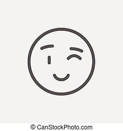 emoticon, ligne, cligner, mince, icône