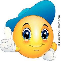 emoticon, llevando, smiley, señalar, gorra, caricatura