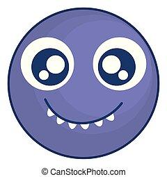 emoticon, loucos, rosto, dentes